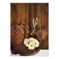 Boots, Daisies Horse Bit Country Wedding Invite
