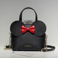 Limited sale Fashion new Handbags High quality PU leather Women bag Mickey Big Ear Shell Sweet bow Chain Shoulder Female bag
