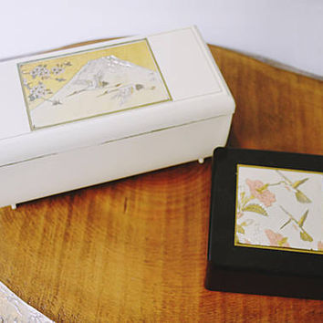 2 Trinket Boxes, Musical Celluloid Trinket Box, Black Lacquer Trinket Box, Hummingbirds, Cranes, Made In Japan, Vintage Jewelry Box
