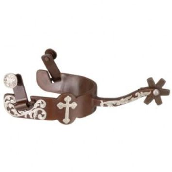 Antique Brown Equitation Spurs with Cross