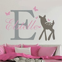 3 color Customize Wall Decal Butterflies Deer Personalized Baby Name Wall Sticker Girls Nursery Room Decal Home Decor KW-121