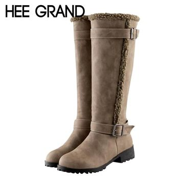 HEE GRAND Metal Decoration High Fashion Boots Lambswool Women Winter Knee-High Boots Keeping Warm Shoes Big Size 34-43 XWX6369