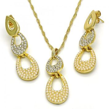 Gold Layered 10.99.0008 Earring and Pendant Adult Set, Teardrop Design, with White Crystal and Ivory Pearl, Polished Finish, Golden Tone