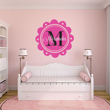 Custom Name Decal- Shabby Chic Girls Scalloped Circle Framed Vinyl Monogram -Elegant Baby Nursery- Girl Teen Fancy Script