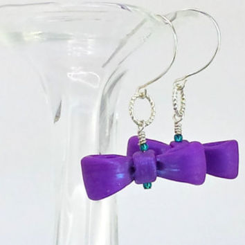 Bow Earrings - Polymer - Clay Bows - Purple Bow Charms - Tiny Bows - Bow Charm Earrings