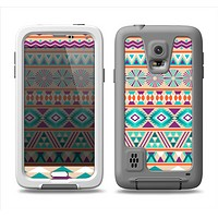 The Tan & Teal Aztec Pattern V4 Samsung Galaxy S5 LifeProof Fre Case Skin Set