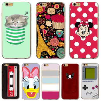 Amusing Exquisite Patterns Dream Tower Happy Girl Soft TPU Phone Cases Cover For Apple iPhone 4 4S 5 5S 5C 6 6S 6S+ 7 Case Back