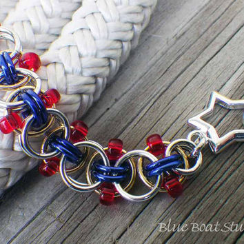 Nautical beaded chainmaille bracelet in red, silver, blue and gold