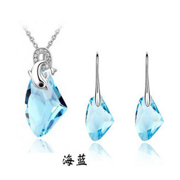 dolphine crystal clear 6 colors necklace and earrings for womenB20+G018