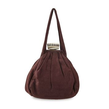 1940s Brown Pouch Handbag by Princess, Gold Crown Clasp