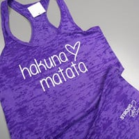 Hakuna Matata Shirt. No Worries Tank Top. Hakuna Mata Tank. Womens Crossfit Tank Top. Womens Yoga Tank Top. Workout Burnout Tank.