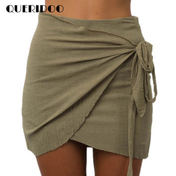 Queridoo Summer Casual Boho Skirt Lace up Beach Short Skirts Women Vintage Irregular Halter High Waist Skirts