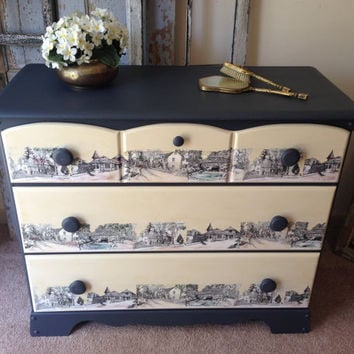 Vintage Painted Decoupaged 3 Drawer Dresser