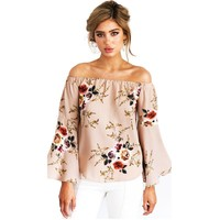 2017 Summer Fashion Women Loose Casual Flower Blouse Ladies Elegant Off Shoulder Long Sleeve Casual Shirts Tops Costume