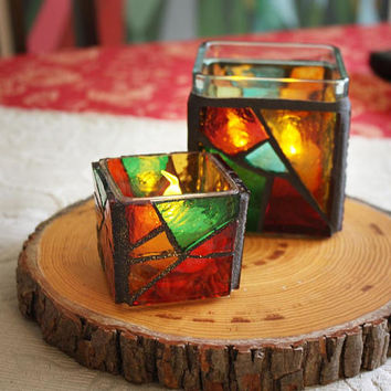Stained Glass Mosaic Christmas Candleholders, Handmade Rustic Red Glass Candle Holders, Christmas Gift set of 2