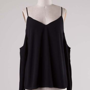 HERMOSA OPEN SHOULDER BLOUSE - BLACK