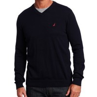Nautica Men's V Neck Solid Sweater