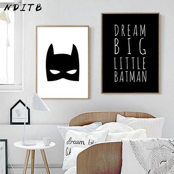 Batman Dark Knight gift Christmas NDITB Batman Mask Canvas Wall Art Poster Cartoon Superhero Nursery Print Painting Decorative Picture Baby Boys Room Decoration AT_71_6