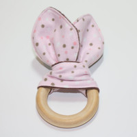 Natural Teether, Bunny Ear, Fabric, Wood, Sensory Toy