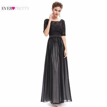 [Clearance Sale] Evening Dresses HE09991 Ever Pretty 2017 Gorgeous Special Occasion Half Sleeve Black Lace  Maxi Backless