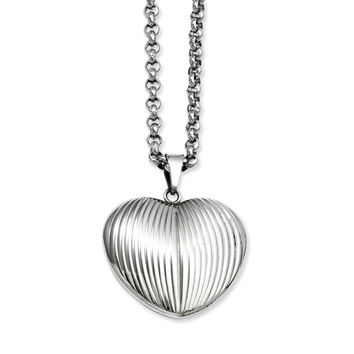 Stainless Steel Puffed Heart Pendant Necklace SRN888