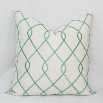 "Teal embroidered decorative throw pillow cover.  18"" x 18"". 20"" x 20"". 22"" x 22"". 24"" x 24"". 26"" x 26"". Euro sham."