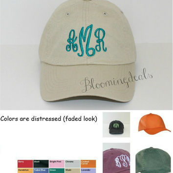 Monogrammed Baseball Cap Personalized Summer Hat Low Profile Pigment Dyed Unconstructed