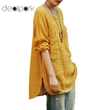 Spring XXXL 4XL 5XL Blouses Women Plus Size Shirts Cotton Loose Casual Long Sleeve Ethnic Vintage Solid Tops female Tunic blusas
