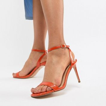 River Island barely there heeled sandals in orange snake effect at asos.com