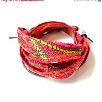 On Sale Boho silk wrap bracelet, Red Vintage Sari Silk Boot Bracelet, Free Shipping