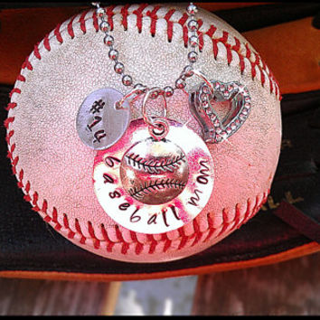 Hand Stamped Personalized Necklace with Player's Jersey Numbers, Rhinestone Heart and Hanging Sports Charm
