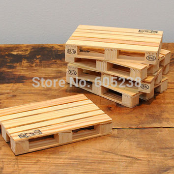 Free Shipping 4Pieces Set Wooden Pallet Styled Coaster Set Mini Wooden Pallet Coasters