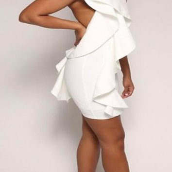 Streetstyle  Casual New Women White Plain Ruffle Halter Neck Backless Bodycon Homecoming Mini Dress