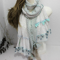 Cream Gray scarf, Cream cotton scarf, Cat's scarves, Cream Long scarves, Gray Lace Scarf, Cream ruffle scarf, Mothers Day, Gift Ideas