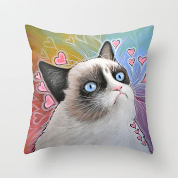 "Decorative throw pillows cover ... from my original kitty painting, ""Grumpy Cat...This Is My Happy Face"" ... 16"" x 16"" ... Tardar Sauce"