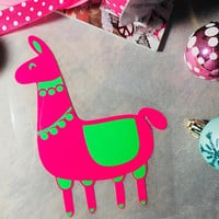 Llama Iron on, Boho Christmas Llama, Heat transfer vinyl iron on, Shirt Decal, Gift for Her
