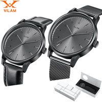 Mens Watches Top Brand Luxury watch men clock male Quartz Stainless Steel mesh strap band Ultra Thin Wristwatch with gift box