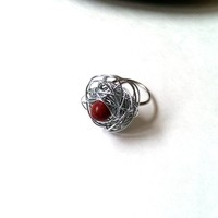 Wire wrapped tangle ring with red jasper