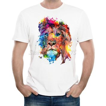 New Arrivals 2016 Men's Fashion Painted Colorful lion Design T Shirt Cool Summer Tops High Quality Casual Tee