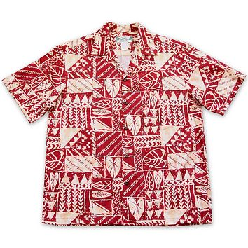 Haleiwa Red Hawaiian Cotton Shirt