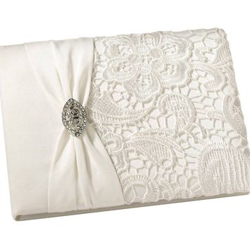 Brand New - Vintage Look Lace Guest Book - Cream Color