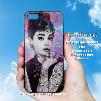 Audrey Hepburn Tattooed - Print on Hard Cover For iPhone 4/4S and iPhone 5 Case