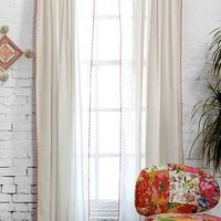 Plum & Bow Contrast Scallop Curtain-