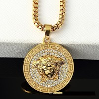QIYIF Versace medusa iced out gold chain