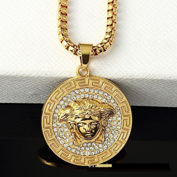 hcxx Versace medusa iced out gold chain