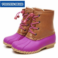 Forzenbear Snow boots ankle boots girls plus size 2018 winter youth duck snow boots