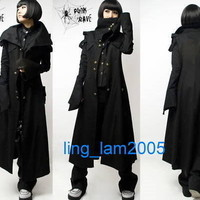 All black PUNK Kera Cosplay Gothic COLLAR long JACKET