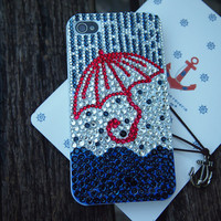 Handmade Case for iPhone- Rain and Red Umbrella