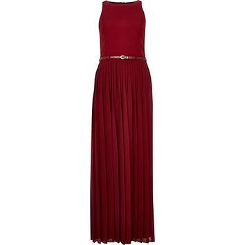 River Island Womens Red pleated belted maxi dress