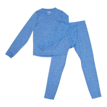 Blue Space Dye Long-Sleeve w/ Thumbholes Thermal Set